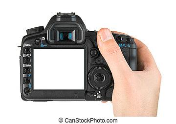 Fotocámara en mano