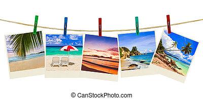 Fotografía de playa de vacaciones en alfileres