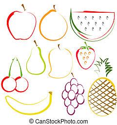 Frutas en la línea de arte