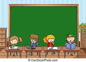 garabato, caricatura, muchos, escena, vacío, carácter, niños, aula, pizarra