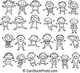 garabato, feliz, caricatura, colección, niño