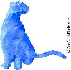 Gato animal politico sentado en azul ilustración de vectores abstractos poligonales