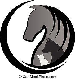 Gato de caballo y logo de perro