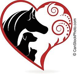 Gato de caballo y perro arremolinados corazón amor logo