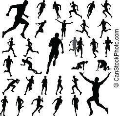 Gente corriendo siluetas
