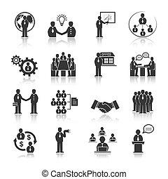 Gente de negocios conociendo iconos