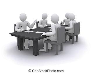 Gente de negocios trabajando, sentada en la mesa