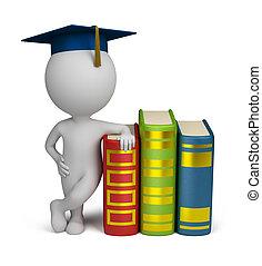 gente, -, graduado, libros, pequeño, 3d