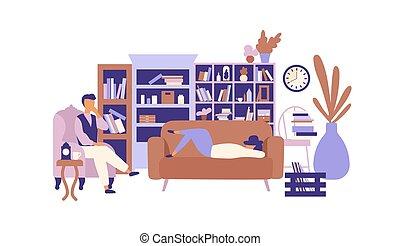 Gente vaga relajándose en la sala llena de muebles exquisitos. Hombre y mujer pasando tiempo en casa y holgazaneando. Pereza y ocio. Ilustración vectorial colorida al estilo moderno.