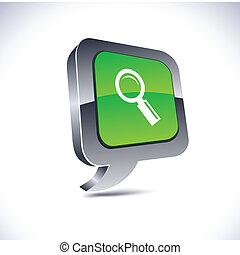 globo, button., 3d, buscando