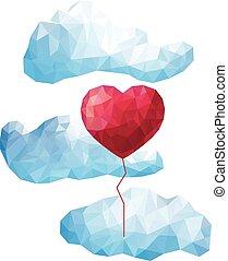 Globo cardíaco vector en las nubes con el estilo de un polígrafo triangular