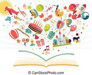 globo, vuelo, cohete, -, aire, imaginación, concepto, avión, libro abierto, afuera