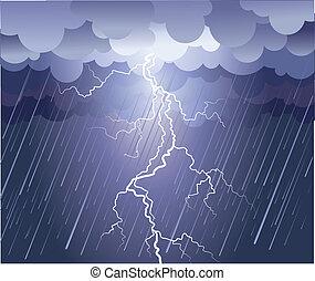 Golpe relámpago. Imagen de lluvia vector con nubes oscuras