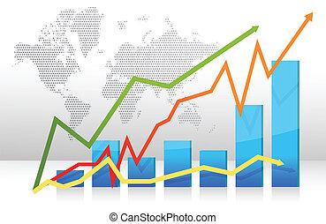 gráfico, flechas, finanzas, barra