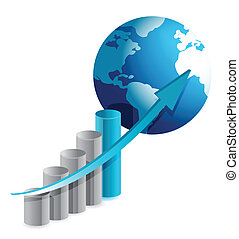 gráfico, globo, empresa / negocio