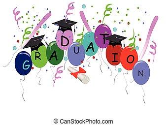 Graduación con globos en blanco