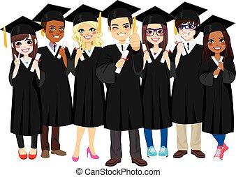 graduar, exitoso, estudiantes