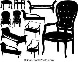 Gran colección de vectores de sillas