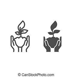 graphics., cuidado, naturaleza, concepto, plano de fondo, símbolo, brote, concepto, estilo, joven, icono, línea blanca, asimiento, vector, contorno, humano, excepto, planta, móvil, palmas, icono, web., sólido, manos