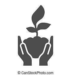 graphics., glyph, naturaleza, concepto, plano de fondo, símbolo, brote, concepto, estilo, joven, icono, blanco, asimiento, vector, humano, excepto, manos, móvil, planta, palmas, icono, web., sólido, cuidado