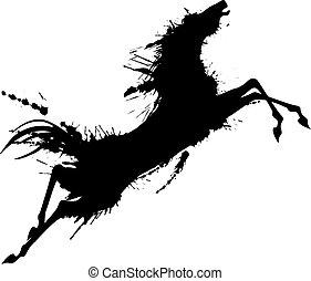 Grunge saltando a caballo silueta