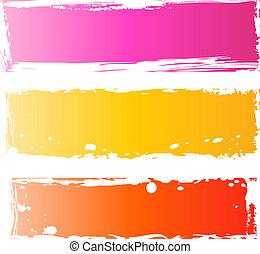 grungy, banderas, bastante, multicolor