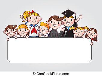 grupo, estudiante, alegre, tenencia, bandera, anuncio