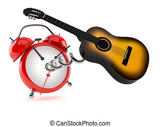 guitarra, reloj, alarma