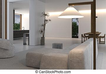 habitación, ad., firma, concept., minimalism, constructivism, interior, geométrico, líneas, vida, copia, pared, espacio blanco, forms., elegante