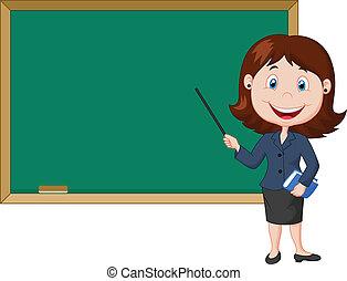 hembra parada, caricatura, nex, profesor