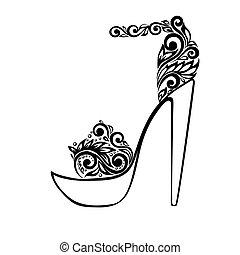 hermoso, ornamento, sandalias, negro, floral, adornado, blanco