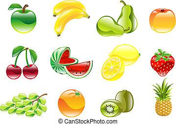 Hermoso y brillante icono de frutas