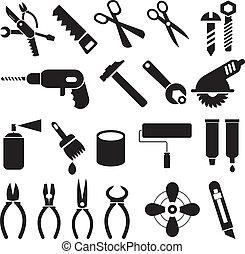 Herramientas de trabajo, un conjunto de iconos vectores