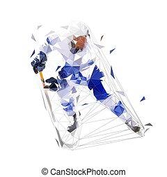 hielo, vista, jugador del hockey, jersey, bajo, aislado, patinaje, vector, frente, polygonal, azul, illustration.