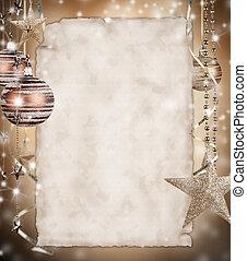 Historia de Navidad con papel en blanco