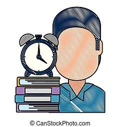 Hombre con libros de texto y despertador