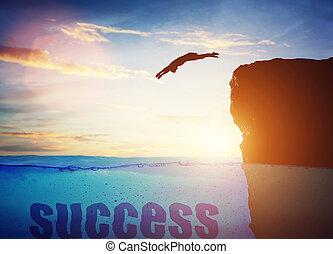 hombre, conceptual, success., saltar