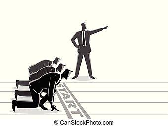 Hombre de negocios con mano puntiaguda ordenando a su subordinado que comience a correr