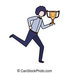 Hombre de negocios con personaje trofeo avatar