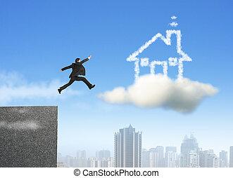 Hombre de negocios corriendo y saltando en la casa de ensueño de las nubes