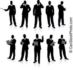 hombre de negocios, silueta, colección