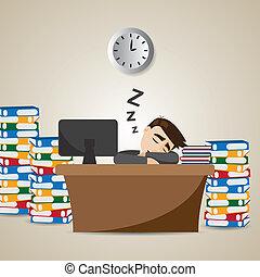 hombre de negocios, tiempo, caricatura, trabajando, sueño