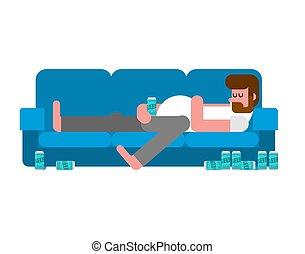 Hombre perezoso acostado en el sofá bebiendo cerveza. El tipo indolente está acostado en el sofá