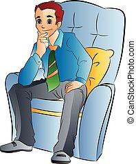 hombre, silla, suave, ilustración, sentado