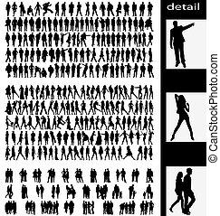 Hombres, mujeres, copas y parejas siluetas