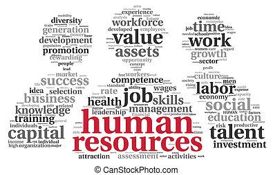 hora, concepto, -, recursos humanos