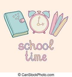 Hora de escribirle a Vector. Lindo fondo de educación infantil con diario, despertador, lápices de colores.