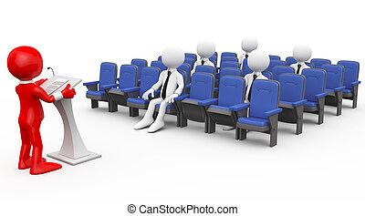 humano, 3d, dictar una conferencia