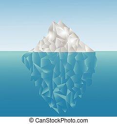 iceberg poligonal en el mar. Bajo diseño de polietileno.