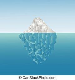 iceberg poligonal en el mar. Bajo diseño de polietileno. Trasfondo de Poligon. Un iceberg gris y azul bajo el agua